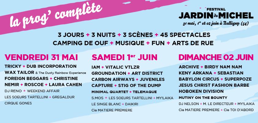Jardin du michel toute la programmation magazine karma for Jardin du michel 2015 programmation